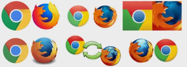Chrome and Firefox icons are together and repeated