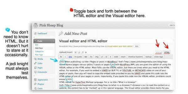 WordPress HTML editor