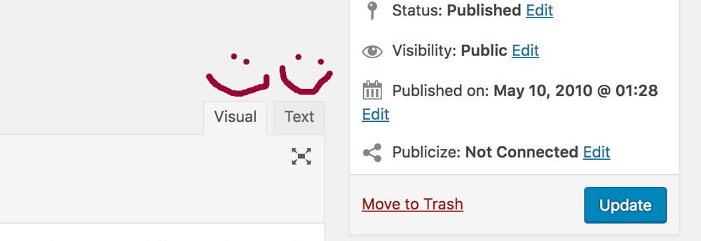The visual and text tabs as seen in the WordPress dashboard