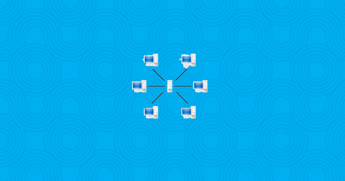 A small network diagram of 6 computers connected to a central computer on a wavy blue background.