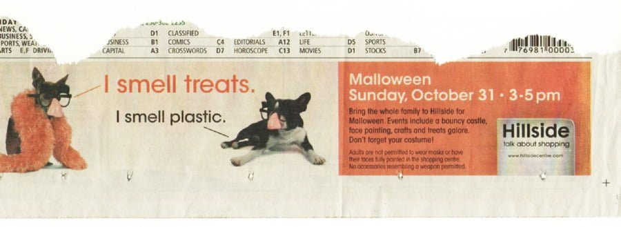 Hillside Mall Malloween Newspaper Ad