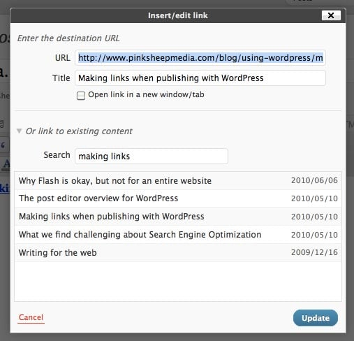 making hyperlinks in WordPress 3.1