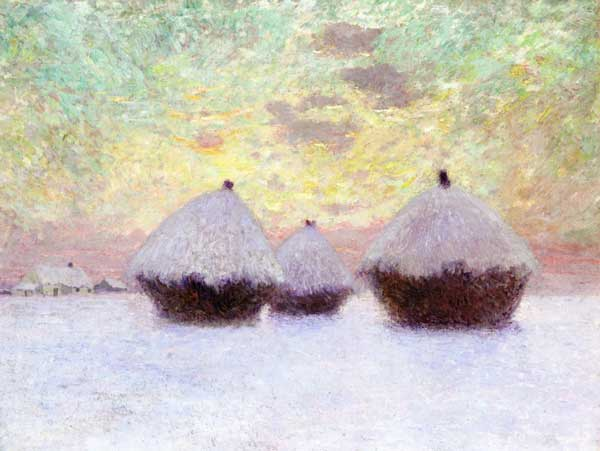 Winter scene of haystacks: painting