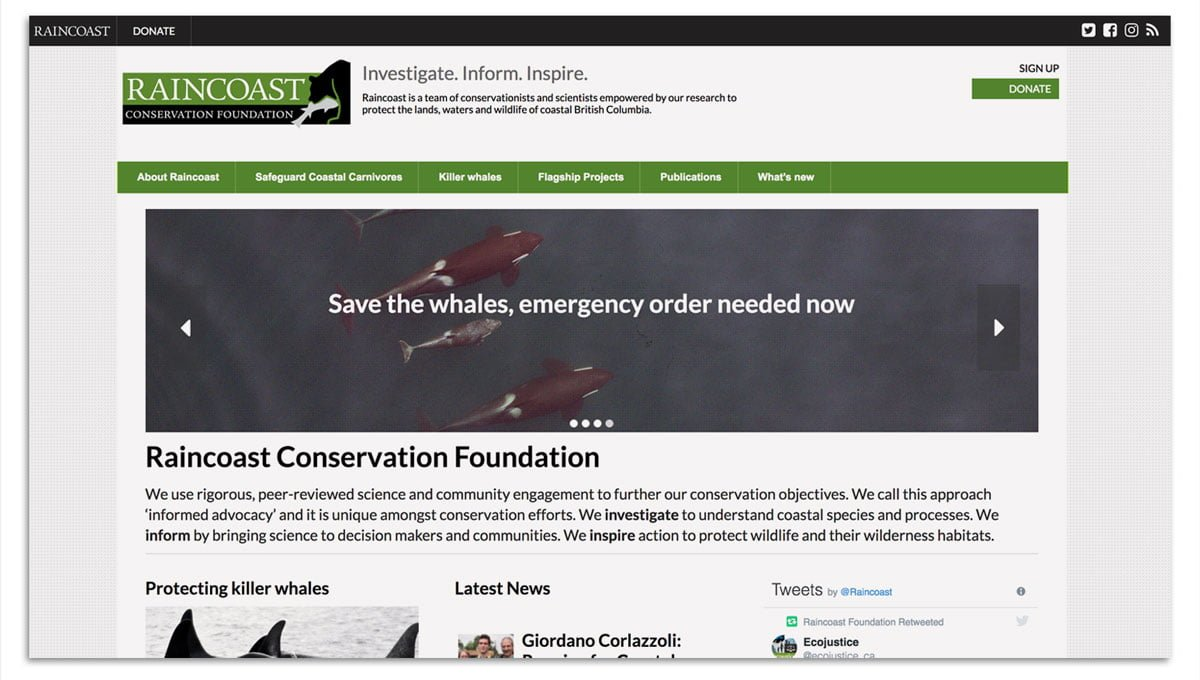 Raincoast Conservation Foundation website screenshot