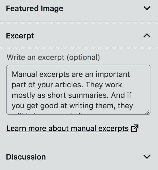 Manual excerpts in WordPress editor.