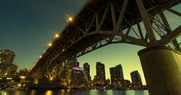 A bridge from Granville island in Vancouver as sign in twilight.
