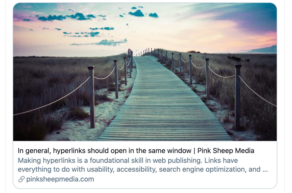 Twitter share card for an article: In general, hyperlinks should open in the same window.